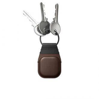 Porte-clés en cuir AirTag Marron