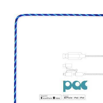 Câble PAC Universel 3-en-1 lumineux Bleu