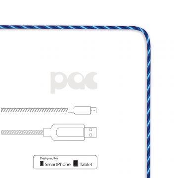 Câble PAC Micro-USB vers USB lumineux Bleu