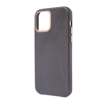 Dual Leather iPhone 12 & iPhone 12 Pro Anthracite/Rose Doré