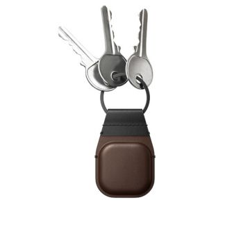Leather key ring AirTag Brown