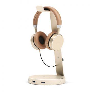 Aluminium USB 3.0 Headphone stand Gold