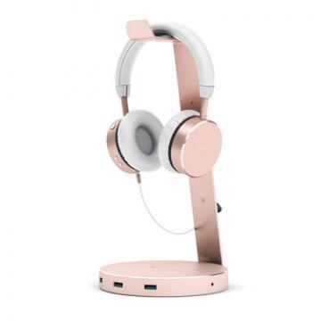 Aluminium USB 3.0 Headphone stand Rose Gold