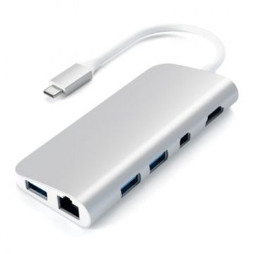 Hub multimedia USB-C Argent