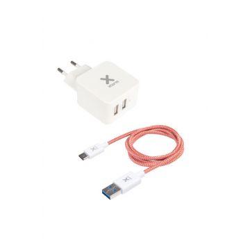 Adaptateur secteur double USB + Câble